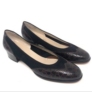 Salvatore Ferragamo Leather Suede Pumps Low Heel